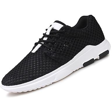 Homens sapatos Tule Primavera Conforto Tênis Cadarço para Ao ar livre Branco Preto