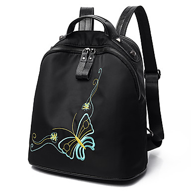 Women's Bags PU Nylon Backpack for Casual Sports Formal Traveling Cycling/Bike Outdoor All Seasons Black