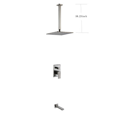 Ceiling Mounted Two Handles Three Holes Nickel Brushed, Shower Faucet