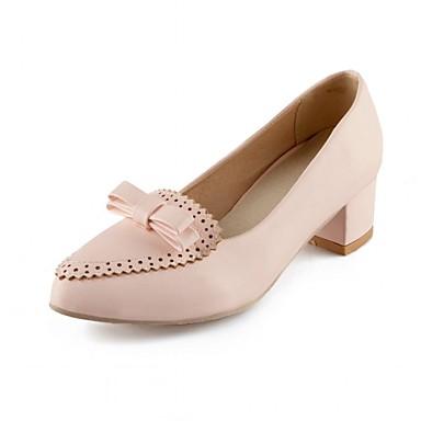 Mulheres Sapatos Couro Ecológico Courino Sintético Verão Outono Inovador Conforto Saltos Caminhada Salto Robusto Dedo Apontado Laço para