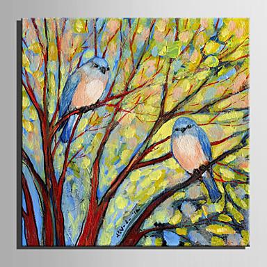 Pintura a Óleo Pintados à mão - Animais Retro Tela de pintura
