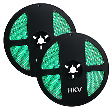 HKV 10m Flexible LED Light Strips 300 LEDs Green Yellow Red Cuttable Waterproof Self-adhesive 12V