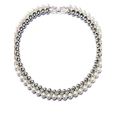 Women's Chain Necklaces Imitation Pearl Circle Alloy Personalized Luxury Fashion Jewelry For Wedding Party Engagement Stage Valentine