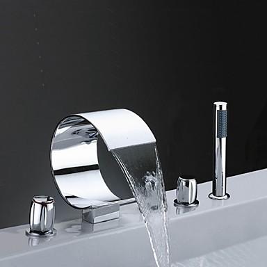 Bathtub Faucet - Contemporary Chrome Widespread Brass Valve