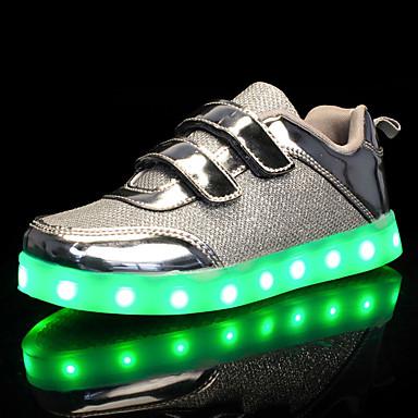 Para Meninas Sapatos Tule / Couro Ecológico Primavera / Outono Conforto / Tênis com LED Tênis Caminhada Velcro / LED para Dourado / Prata