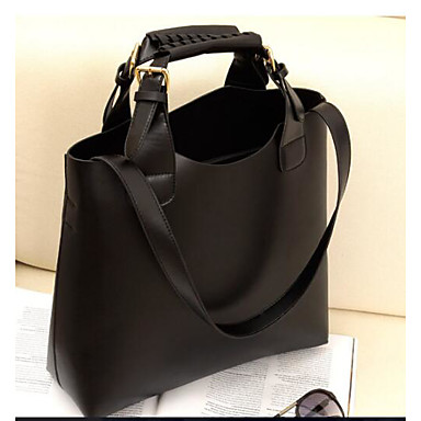 Women's Bags PU Tote for Outdoor Black / Brown