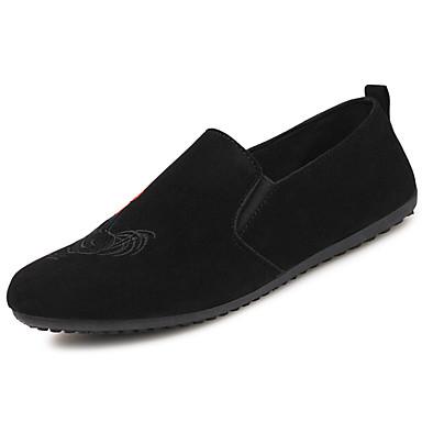 Homens sapatos Camurça Primavera Outono Solados com Luzes Conforto Mocassins e Slip-Ons para Casual Dourado Preto