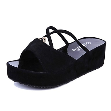 Women's Shoes PU Summer Comfort Sandals For Casual Black Red Blue