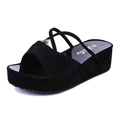 Dame Sko PU Sommer Komfort Sandaler Til Avslappet Svart Rød Blå