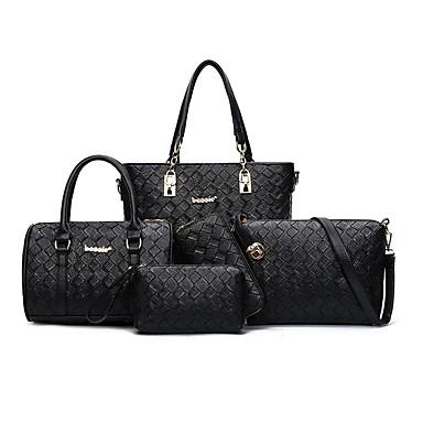 Women's Bags PU Bag Set 5 Pieces Purse Set for Casual All Seasons Black Fuchsia Brown