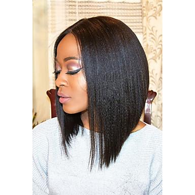 Ekte hår Blonde Forside Parykk Rett 130% 150% tetthet 100 % håndknyttet Afroamerikansk parykk Naturlig hårlinje Kort Medium Dame