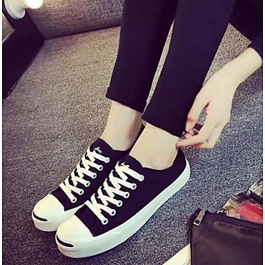Naiset Kengät Canvas PU Kevät Comfort Tasapohjakengät Käyttötarkoitus Kausaliteetti Valkoinen Musta