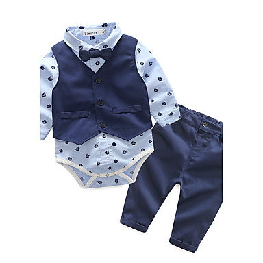 Boys' Geometric Clothing Set, Cotton Spring Fall Long Sleeves Dresswear Blue