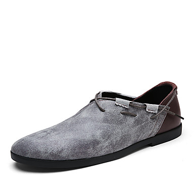 Men's Shoes Cowhide Spring Summer Novelty Loafers & Slip-Ons For Casual Beige Gray Brown