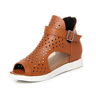 Naiset Kengät Nahka Kevät Comfort Sandaalit Käyttötarkoitus Kausaliteetti Valkoinen Keltainen Punainen
