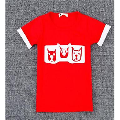 baratos Blusas para Meninas-Para Meninas Estampa Colorida Outro Manga Curta Camiseta Preto