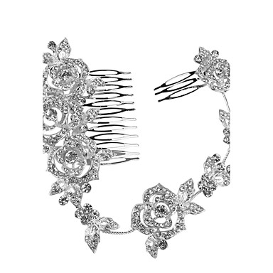 Cristal Tiaras / Headbands / Pentes de cabelo com Floral 1pç Casamento / Ocasião Especial / Aniversário Capacete / Flores