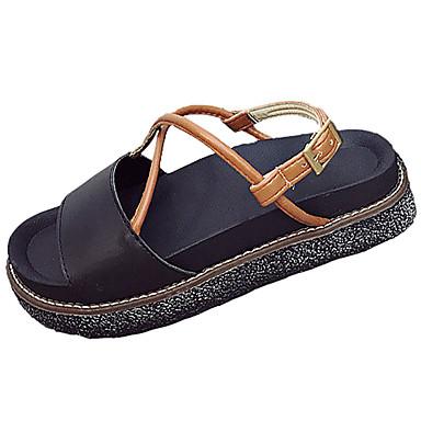 Naiset Kengät PU Kesä Comfort Valopohjat Sandaalit Tasapohja Avokkaat Soljilla Käyttötarkoitus Puku Musta Beesi