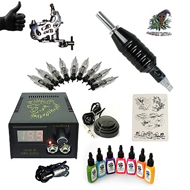 Starter Tattoo Kit 1 steel machine liner & shader Tattoo Machine LCD power supply 7 × 15ml Tattoo Ink 1 x aluminum grip