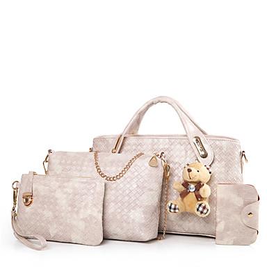Mulheres Bolsas Couro Ecológico Conjuntos de saco Conjunto de bolsa de 4 pcs para Todas as Estações Azul Branco Preto Vermelho Marron