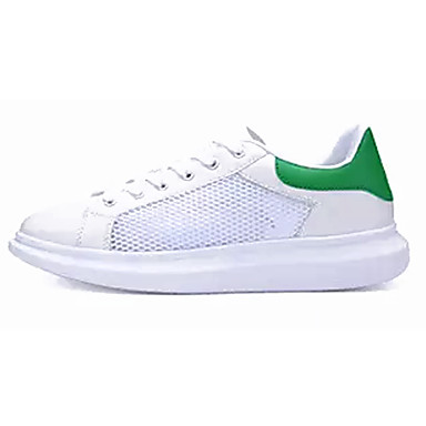 Mulheres Sapatos Borracha Primavera Outono Conforto Tênis Sem Salto Ponta Redonda Cadarço para Ao ar livre Branco Branco e Verde
