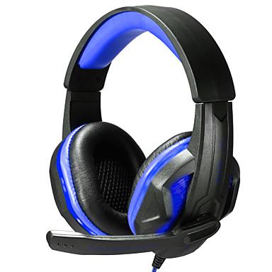 Sobre o ouvido Bandana Com Fio Fones Plástico Games Fone de ouvido Com controle de volume Com Microfone Isolamento de ruído Luminoso Fone