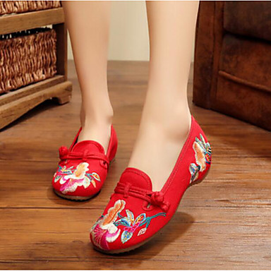Women's Shoes Fabric Flats For Black Red