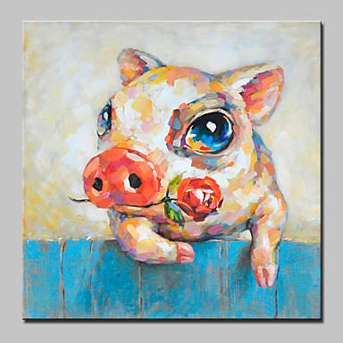 Hang-Painted öljymaalaus Maalattu - Eläimet Abstrakti / Cartoon / Moderni / nykyaikainen Kangas / Valssatut kankaat