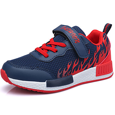 Boys' Shoes Breathable Mesh Spring Fall Light Soles Sneakers Running Shoes Lace-up for Casual Orange Red Blue