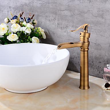 Centerset Waterfall Ceramic Valve One Hole Antique Copper