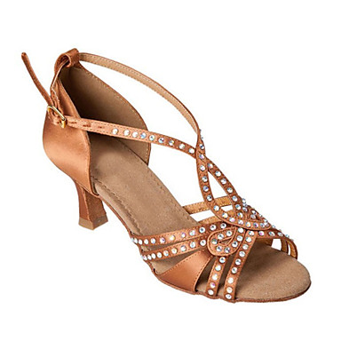 Women's Latin Shoes Silk Sandal Crystals / Rhinestones Stiletto Heel Customizable Dance Shoes Brown / Performance / Leather