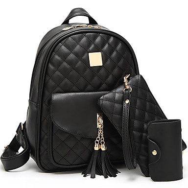 Women's Bags PU(Polyurethane) School Bag Tassel / Plaid Black