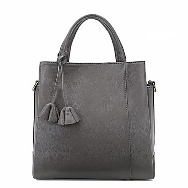Women Tote Cowhide All Seasons Casual Outdoor Square Zipper Black Gray Wine