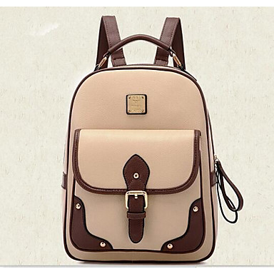 Women's Bags PU Backpack for Casual All Seasons Brown Black Apricot