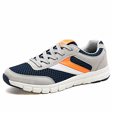 Men's Shoes Tulle Summer Fall Comfort Light Soles Sneakers Lace-up For Casual Black White/Blue