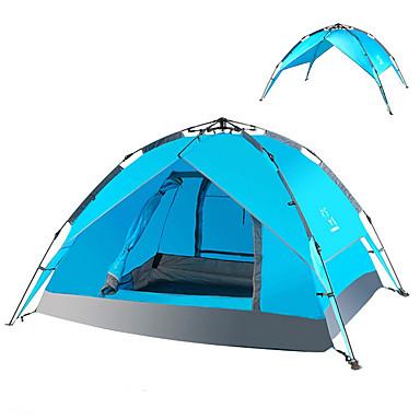 LINGNIU® 3-4 Personen Zelt Strandzelt Doppel Camping Zelt Einzimmer Automatisches Zelt warm halten Staubdicht für >3000mm PU CM