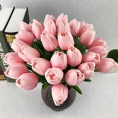 Artificial Flowers 10 Branch European Tulips Tabletop Flower