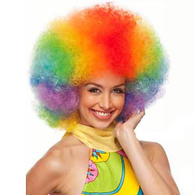 Syntetiske parykker Krøllet Afro Blond Rød Dame Lokkløs Karneval Parykk Halloween parykk Cosplay-parykk Kort Syntetisk hår