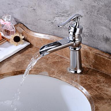 Centerset Waterfall Ceramic Valve One Hole Chrome, Bathroom Sink Faucet