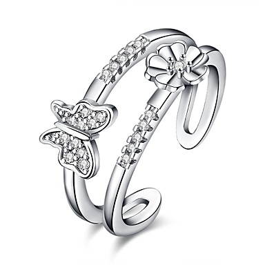 Women's Ring AAA Cubic Zirconia Personalized Floral Luxury Geometric Unique Design Classic Vintage Rhinestone Bohemian Basic Heart Circle