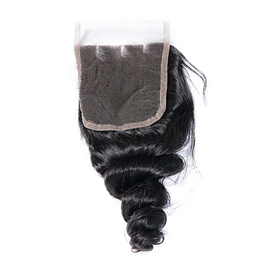8-20inch Bleached Knots Lace Closure Loose Wave Closure Best Virgin Brazilian Closures  Three Part  Lace Closure