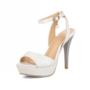 Mulheres Sapatos Couro Ecológico Sintético Verão Outono Inovador Conforto Sandálias Caminhada Salto Agulha Peep Toe Presilha para
