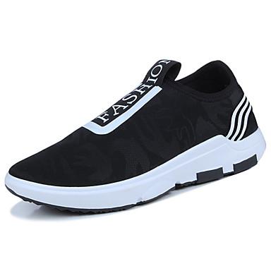 Miesten kengät Kangas Kesä Comfort Mokkasiinit Kävely varten Kausaliteetti Musta Tumman punainen