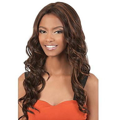 Synthetic Wig Wavy Brown Women's Capless Natural Wigs Long Synthetic Hair