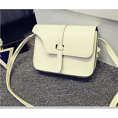 Women Shoulder Bag PU Polyester All Seasons Casual Outdoor Square Zipper White Black Red Brown