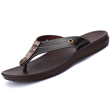 Men's Shoes Leather Summer Mary Jane / Light Soles Slippers & Flip-Flops Black / Brown