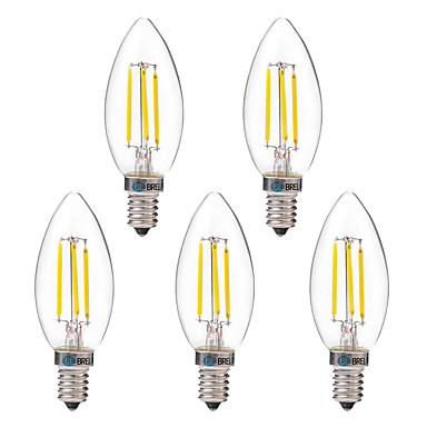 BRELONG® 5pcs 4W 350lm E14 LED Filament Bulbs C35 4 LED Beads COB Warm White White 220-240V