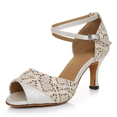 Women's Latin Lace Fabric Heel Professional Rhinestone Cuban Heel Nude 2