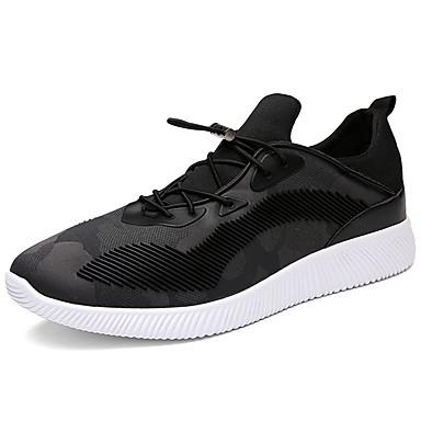 Miesten kengät PU Kevät Syksy Comfort Urheilukengät Kävely Solmittavat varten Kausaliteetti Musta Harmaa Punainen