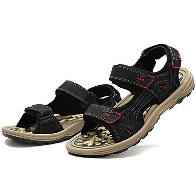 Men's Shoes Tulle Cowhide Spring Summer Comfort Sandals For Casual Black Coffee